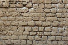 Parede pintada do tijolo ocre velho Textura do fundo Fotografia de Stock Royalty Free