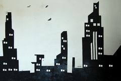 Parede preto e branco do fundo da cidade ilustração do vetor