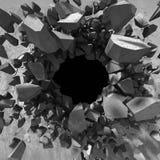 Parede quebrada rachada escura no muro de cimento Fundo do Grunge Imagens de Stock Royalty Free