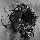 Parede quebrada rachada escura no muro de cimento Fundo do Grunge Fotos de Stock Royalty Free
