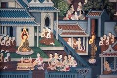 Parede tailandesa da arte do estilo do fundo no templo, Tailândia. Imagem de Stock