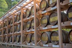 A parede tradicional dos tambores de vinho Imagem de Stock Royalty Free