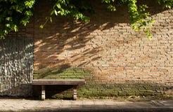 Parede vazia da cadeira e de tijolo com planta Foto de Stock