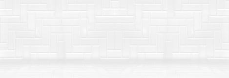 Parede vazia do azulejo e fundo limpos brancos do assoalho, mínimo foto de stock