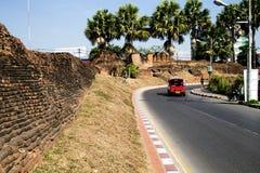 A parede velha icónica da cidade de Chiang Mai Fotografia de Stock Royalty Free