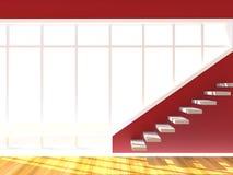 A parede vermelha decora a escada Fotos de Stock