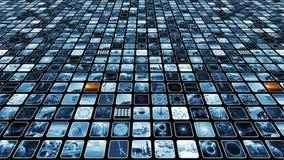 Parede video animado com os elementos do azul e do sepia de muitos ícones dos meios, laço-capazes rendição 3d 4K vídeos de arquivo