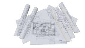 Paredes construidas de una casa en dibujos de construcción ilustración del vector