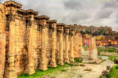 Paredes da biblioteca de Hadrian em Atenas Imagem de Stock