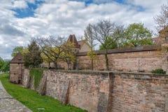 Paredes da cidade de Nuremberg, Alemanha Foto de Stock
