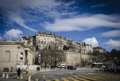 Paredes da cidade velha de Genebra, em março de 2016 Fotografia de Stock