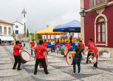 Paredes de Coura in Norte region, Portugal. PAREDES DE COURA, PORTUGAL - AUGUST 8, 2014: Folkloristic drum band in the center of Paredes de Coura in Norte region Stock Photo