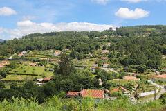 Paredes de Coura in Norte region, Portugal. View on houses in the countryside at Paredes de Coura in Norte region, Portugal stock image