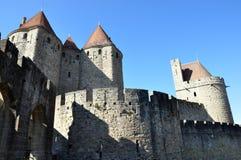 Paredes de la ciudad, Carcasona, Francia Imagen de archivo libre de regalías