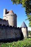 Paredes de la ciudad, Carcasona, Francia Foto de archivo libre de regalías