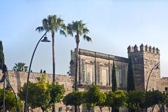 Paredes de la ciudad de Jerez con las palmas fotos de archivo