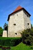Paredes de la ciudad y de la estatua medievales en Cluj-Napoca, Transilvania Fotografía de archivo libre de regalías