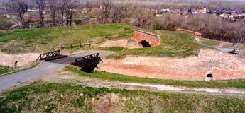 Paredes de la fortaleza de Petrovaradin, fosas, puentes fotografía de archivo libre de regalías