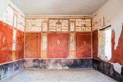 Paredes de los frescos en el sitio arqueológico de Pompeya Fotografía de archivo libre de regalías