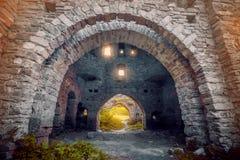 Paredes de piedra antiguas con los arcos Imágenes de archivo libres de regalías