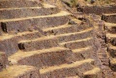 Paredes de piedra del inca y campos colgantes Imágenes de archivo libres de regalías