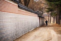 Paredes de piedra del palacio de Gyeongbokgung en Seul Foto de archivo