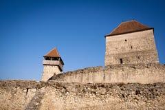 Paredes de piedra medievales del castillo de Calnic Fotografía de archivo