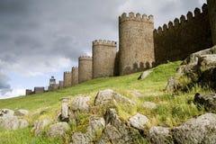 Paredes defensivas medievales imagen de archivo