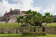 Paredes del castillo de Cartagena Foto de archivo libre de regalías