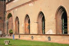 Paredes del castillo de Sforza Imagen de archivo