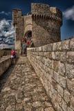 Paredes del castillo y de la ciudad del ` s de Dubrovnik Imagen de archivo