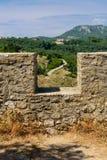 Paredes do castelo de Angelokastro Foto de Stock