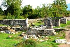Paredes e ruínas em Ulpia Traiana Augusta Dacica Sarmizegetusa Fotografia de Stock Royalty Free