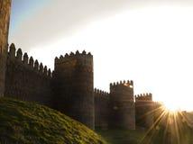 Paredes fortificadas de la ciudad, Ávila España Fotos de archivo libres de regalías