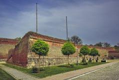 Paredes fortificadas medievales y árboles ornamentales Foto de archivo libre de regalías
