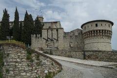 Paredes medievales de la fortaleza en la ciudad de Brescia, Italia imágenes de archivo libres de regalías