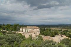 Paredes medievales del castillo del fuerte Santo-Andre en la ciudad de Villeneuve Imagen de archivo libre de regalías
