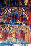 Paredes pintadas medievales en el monasterio del humor, Moldavia, Rumania Fotos de archivo libres de regalías