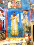 Paredes pintadas, monasterio de Voronet, Moldavia, Rumania Imágenes de archivo libres de regalías
