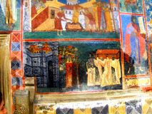 Paredes pintadas, monasterio de Voronet, Moldavia, Rumania Imagen de archivo
