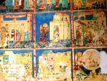 Paredes pintadas no monastério de Arbore, Moldávia, Romênia Fotos de Stock Royalty Free