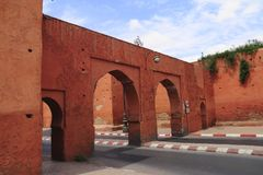 Paredes viejas de la ciudad de Marrakesh Imagen de archivo libre de regalías