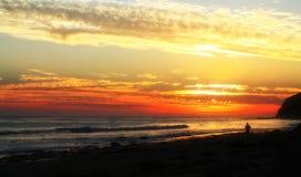 Pareggiando nel tempo di tramonto Fotografia Stock
