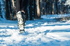 Pareggiando nell'inverno Passare la neve esegua la neve della foresta fotografie stock