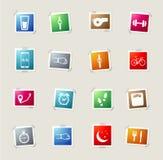 Pareggiare di allenamento ed icone semplicemente Immagine Stock