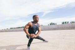 Pareggiatore che fa allungando il corridore muscolare della zampa anteriore di esercizio che prepara per l'allenamento Fotografia Stock Libera da Diritti