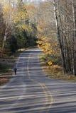 Pareggiatore sul sentiero forestale il giorno soleggiato nell'autunno tardo Fotografia Stock