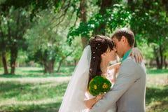 Pareja casada en el abarcamiento del bosque Fotos de archivo