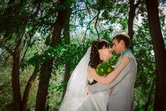Pareja casada en el abarcamiento del bosque Fotos de archivo libres de regalías