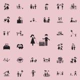 pareja casada en karaokeicon Sistema universal de los iconos de la familia para el web y el móvil ilustración del vector